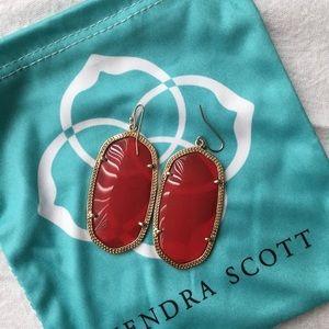 Kendra Scott - Danielle Gold Drop Earrings - Red